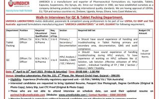 UMEDICA LABORATORIES – Walk-In Interviews for QC / Tablet Packing on 9th & 10th Apr' 2021