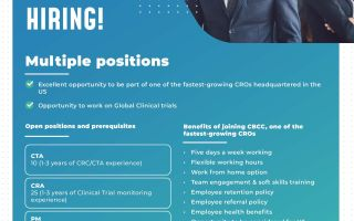Multiple Positions for CRA / CTA / PM (Project Management) Medical Monitor / QA @ CBCC Global Research