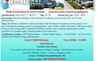 Granules India Limited – Walk-In Interviews for FRESHERS on 21st June' 2021