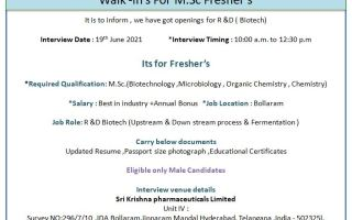 Sri Krishna Pharmaceuticals – Walk-In Interviews for Freshers & Experienced Candidates on 19th June' 2021