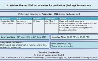 Sri Krishna Pharmaceuticals – Walk-In Interviews for B.Sc, M.Sc, B.Pharm, Inter Candidates – Production on 21st to 26th June' 2021