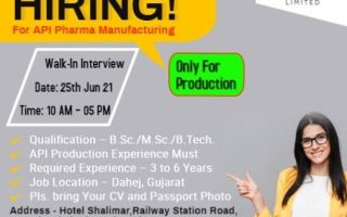 Shivalik Rasayan Ltd – Walk-In Interviews on 25th June' 2021