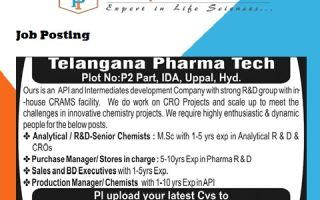TELANGANA PHARMATECH – Urgent Requirement for Production / Analytical R&D / R&D / Purchase / Stores / Sales & Business Development