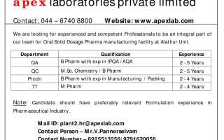Apex Laboratories Pvt. Ltd – Multiple Openings in Production / QC / QA / Technology Transfer – Apply Now