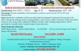 Granules India Limited – Walk-In Interviews for FRESHERS on 29th July' 2021