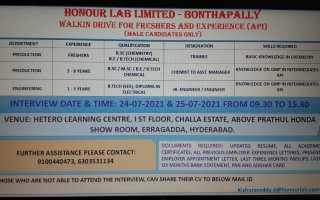 Honour Lab Limited – Walk-Ins for Freshers & Experienced in Production / Engineering on 24th – 25th July' 2021