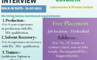 Covalent Laboratories – Walk-In Interviews for Freshers & Experienced in Production / Solvent Recovery / Trainee on 25th July' 2021
