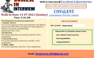 Covalent Laboratories Pvt. Ltd – Walk-Ins for Freshers & Experienced in QC / Production / Solvent Recovery / AR&D / R&D on 11th July' 2021