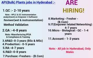 Multiple Requirements of Freshers & Experienced for QC / QA / ARD / Production / Regulatory Affairs / R&D / Purchase / Marketing / IT / Micro / Accounts @ Hyderabad