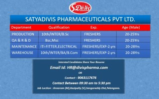 Satyadivis Pharmaceuticals Pvt. Ltd – Multiple Hiring for Freshers & Experienced in Production / QA / R&D / Maintenance / Warehouse Departments – Apply Now