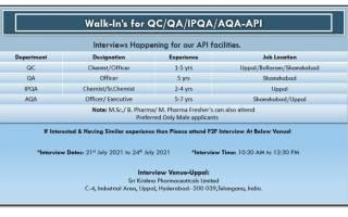 Sri Krishna Pharma – Walk-Ins for Freshers & Experienced in QC / QA / AQA / IPQA on 22nd to 24th July' 2021