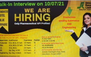 Shivalik Rasayan Ltd – Walk-In Interviews for Production / Quality Assurance / EHS / Engineering on 10th July' 2021