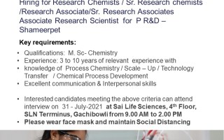 Sai Life Sciences – Walk-In Interviews for Process R&D on 31st July' 2021