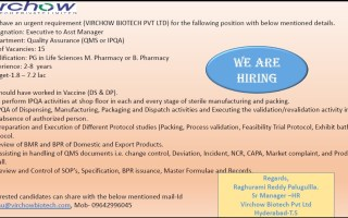 VIRCHOW BIOTECH PVT. LTD – Urgent Requirement for QA / Warehouse Departments – Apply Now