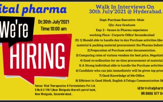 Vital Pharma – Walk-In Interviews for Purchase Executives on 30th July' 2021 @ Hyderabad