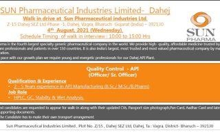 Sun Pharmaceutical Industries Ltd – Walk-In Interviews on 4th Aug' 2021