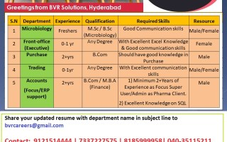 Multiple Openings for Freshers & Experienced Candidates in Microbiology / Purchase / Trading / Front Office / Accounts – Apply Now