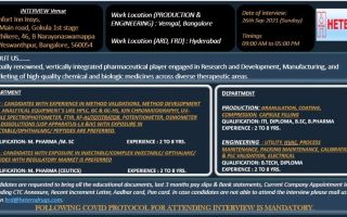 Hetero Labs Limited – Walk-Ins for FR&D / AR&D / Engineering / Production on 26th Sep' 2021