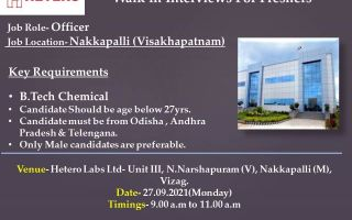 Hetero Labs Ltd – Walk-In Interviews for B.Tech Chemical Freshers on 27th Sep' 2021