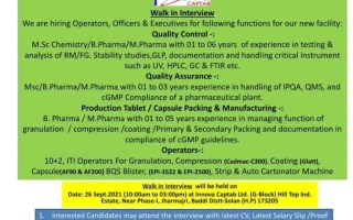 Innova Captab Ltd – Walk-Ins for QC / QA / Production Tablet / Capsule Packing & Manufacturing / Operators on 26th Sep' 2021