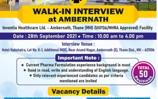 50 Openings @ Inventia Healthcare Ltd – Walk-In Interviews for Quality Control / Production on 28th Sep' 2021