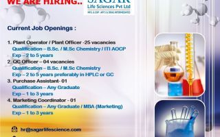 Sagar Life Sciences Pvt. Ltd – Multiple Openings for Plant Operator / Plant Officer / QA Officer / Purchase Assistant / Marketing Coordinator