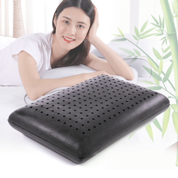 dough memory foam bed pillow infused with bamboo charcoal improved ventilation orthopedic pillows for quality sleep neck support shoulder pain