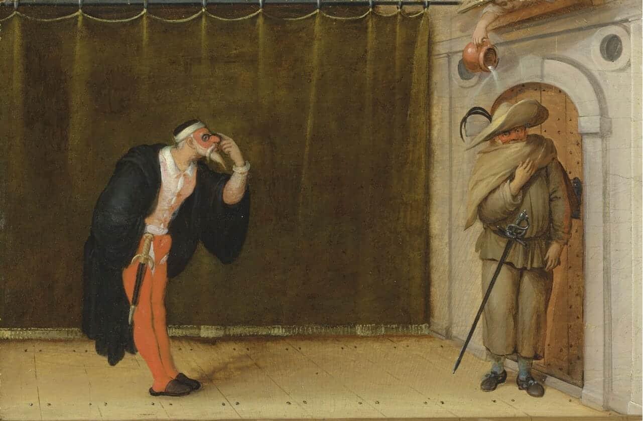 Sebastian Vrancx   A Commedia dell27arte scene with Pantalone and a zanni2C possibly Brighella