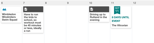 A training calendar with notes