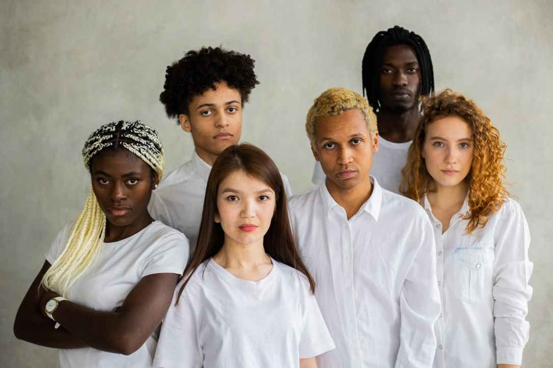 group of diverse young people with different appearances
