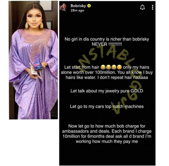 'No Girl In This Country Is Richer Than Bobrisky'