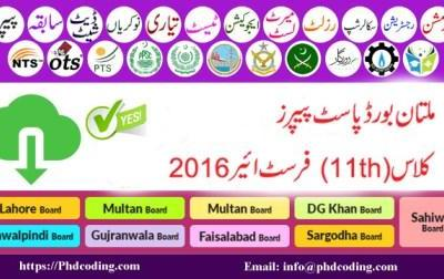 Past Paper Multan Board 2016
