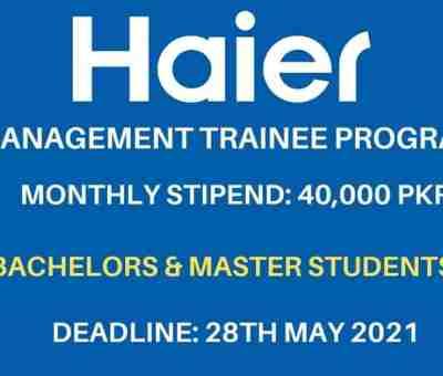 haier management trainee program 2021