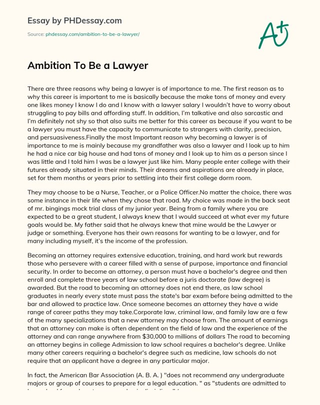 Ambition To Be a Lawyer - PHDessay.com