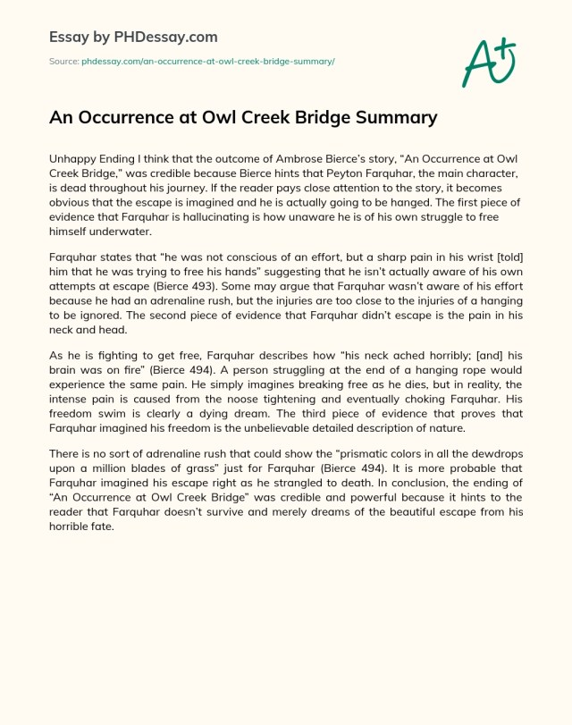 An Occurrence at Owl Creek Bridge Summary - PHDessay.com