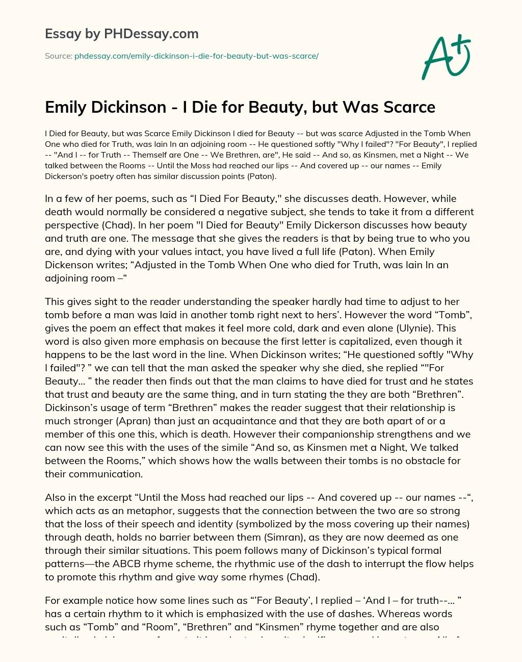 Emily Dickinson I Died For Beauty : emily, dickinson, beauty, Emily, Dickinson, Beauty,, Scarce, PHDessay.com