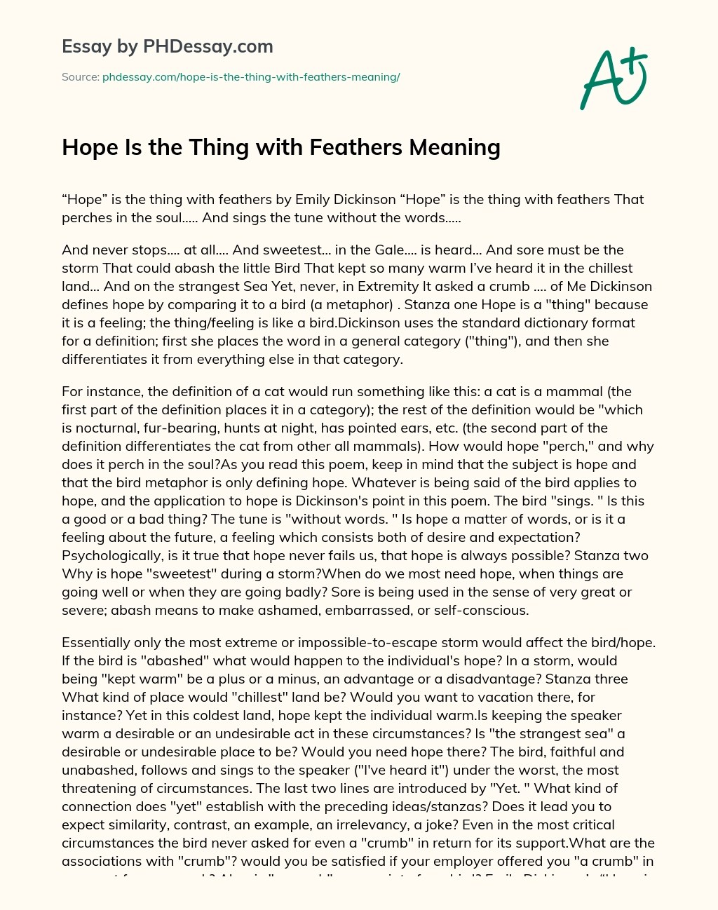 Hope Is The Thing With Feathers Theme Essay Example