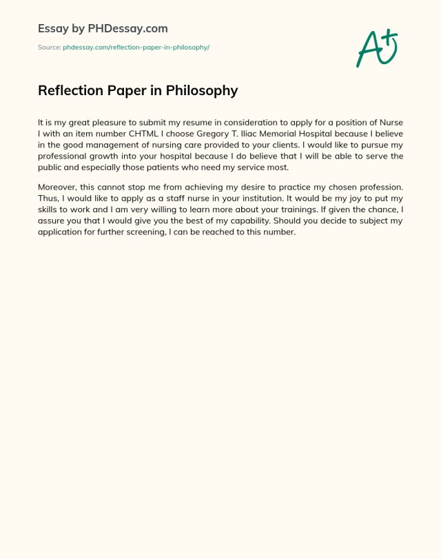 Reflection Paper in Philosophy - PHDessay.com
