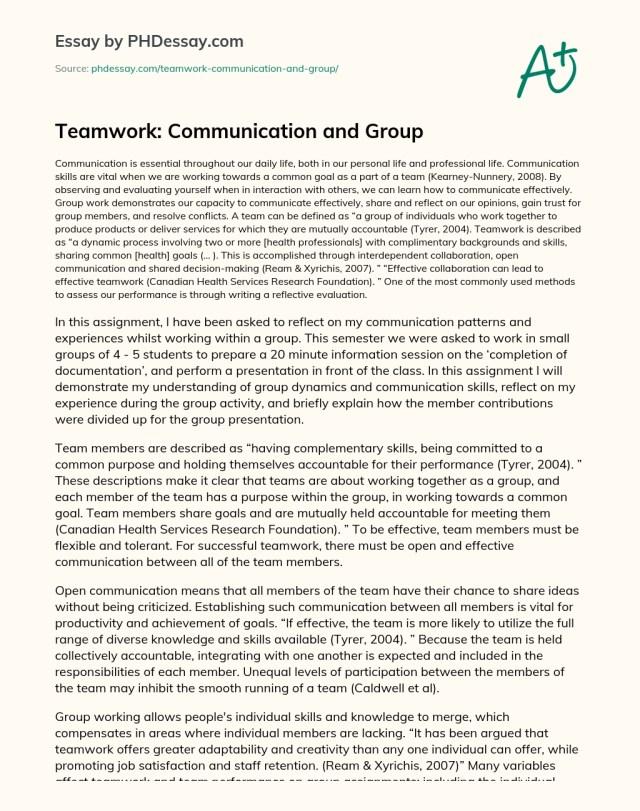 Teamwork: Communication and Group - PHDessay.com