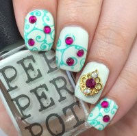 Frozen-Inspired Nail Art with Pepper Pot Polish and Stamping