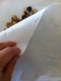 Remove leftover peels using paper towels