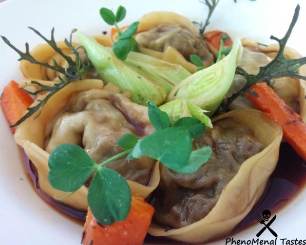 Handmade Tortellini with braised oxtail, panfried baby leeks n carrots