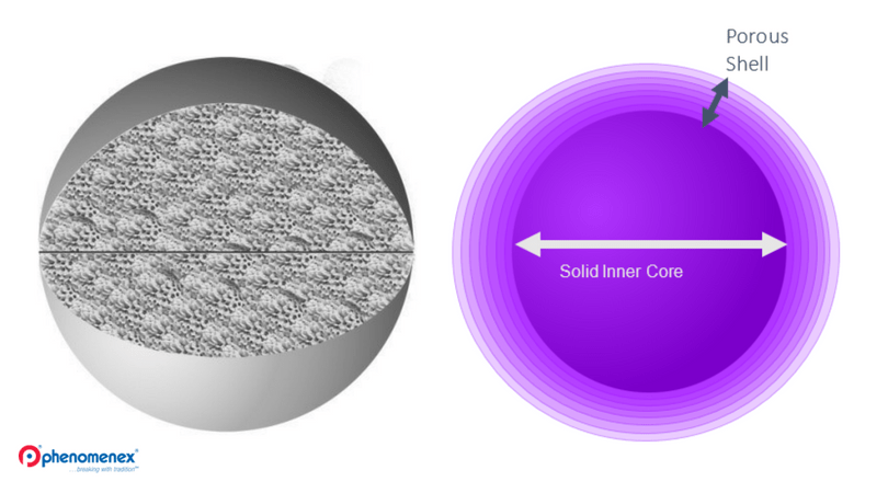 Fully porous core-shell particle