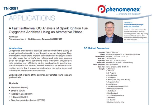 Gasoline Oxygenate Additives method development analysis