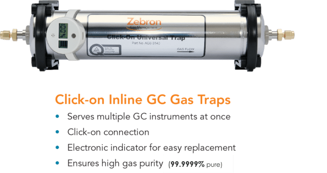 Click-on inline GC Gas Traps