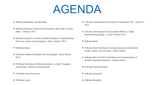 PhenoPREP 2019 Purification Seminar Agenda