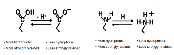 pH mobile phase hydrophobic comparison