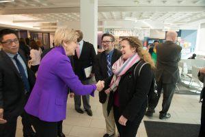 Westfield State Organizers Chris Gullen and Hanna Homan talk with Senator Elizabeth Warren on 2/1/16