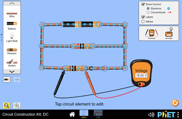 Phet Animation To Simulate Voltage And Current In A Circuit