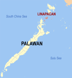 Location of Linapacan in the province of Palawan
